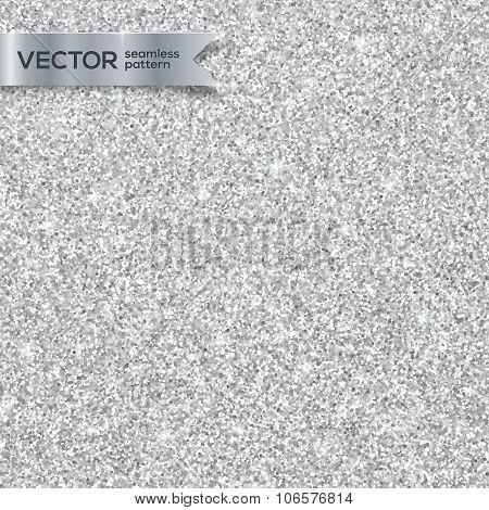Shining silver glitter texture seamless pattern