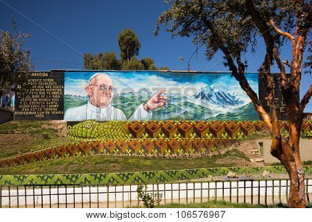 Mural For Pope Welcoming In La Paz, Bolivia