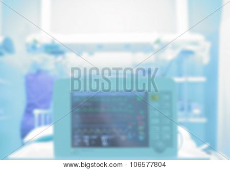 Medical Background With A Monitor In A Hospital Ward. Blurred Healthcare Background
