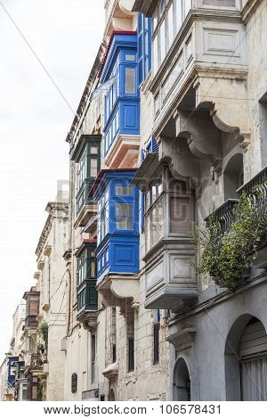 Colorful Maltese Balconies In Capital Of Malta - Valletta, Europe