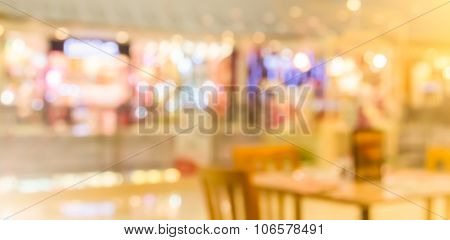 Abstract Blur Background Of Restaurant In The Shopping Mall With Filtered Color,pastel Color Tone.