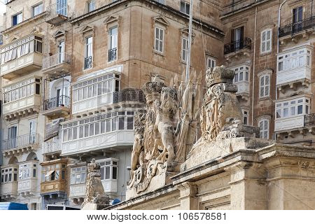 Fragment Victoria Gate In Capital Of Malta - Valletta, Europe
