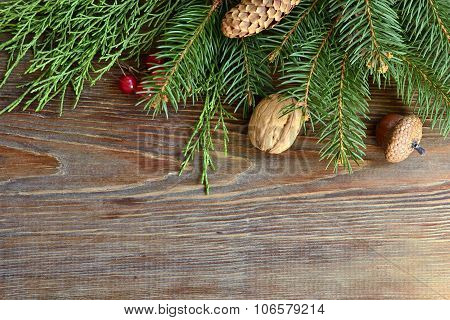 Christmas background with fir branches, pine cones and berries