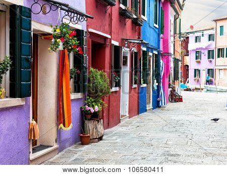 Street With Multi-colored Bright Houses On Burano's Island, Venice, Italy