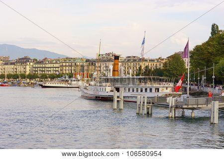 GENEVA, SWITZERLAND - SEPTEMBER 14, 2014: CGN paddle steamer. Lake Geneva General Navigation Company is a public Swiss company operating boats on Lake Geneva