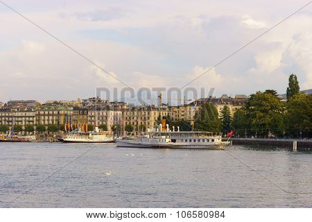 GENEVA, SWITZERLAND - SEPTEMBER 14, 2014: view of Geneva. Geneva is a global city, a financial center, and worldwide center for diplomacy due to the presence of numerous international organizations.