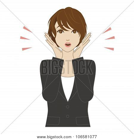Surprised Young Woman In Business Suit