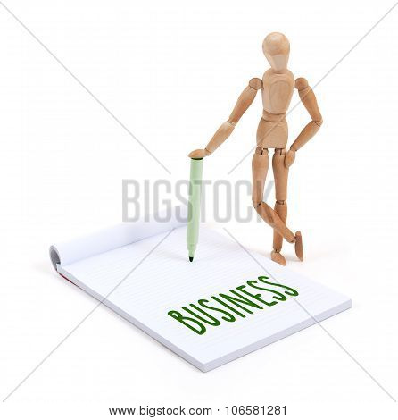 Wooden Mannequin Writing - Business