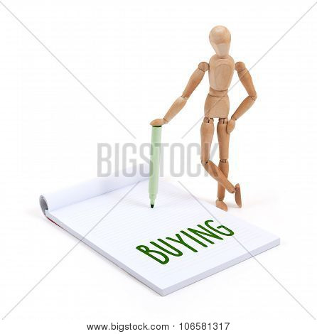Wooden Mannequin Writing - Buying