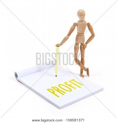 Wooden Mannequin Writing - Profit