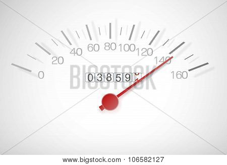 Speedometer With A Red Arrow Almost At Top Speed