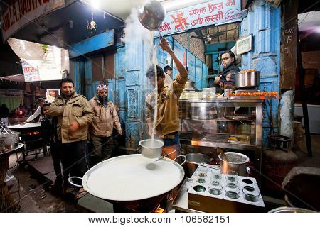 Street Fast-food Shop With Guy Who Prepares The Milk With Saffron