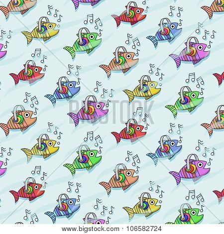 Repetitive Pattern With Fish Who Listen To Music