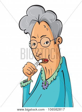 Elderly Woman Coughing