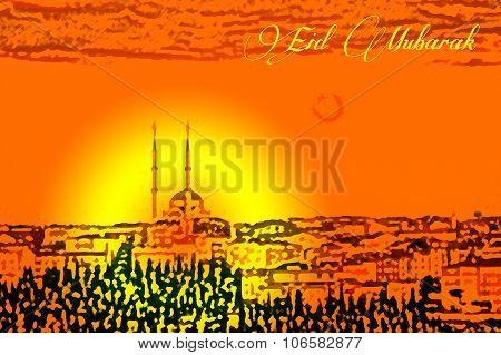 Islamic Holiday Celebration Greeting Card Illustration