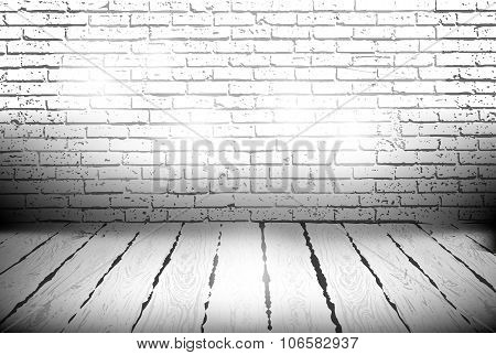 Room With A Brick Wall And Wooden Floor Vector Illustration For Background