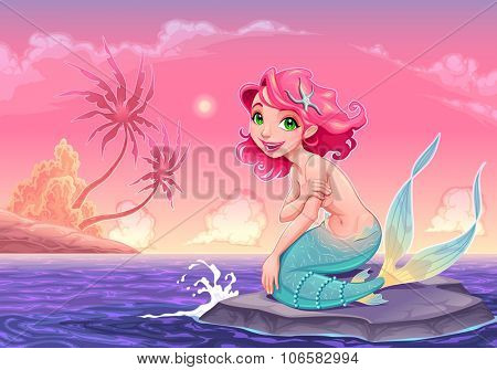 Young mermaid near the shore. Vector cartoon illustration