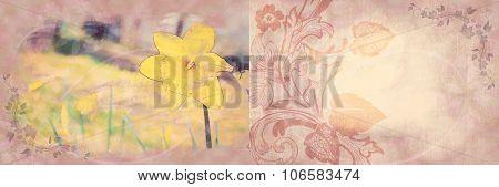 Vintage Floral Decorative Folding Greeting Card