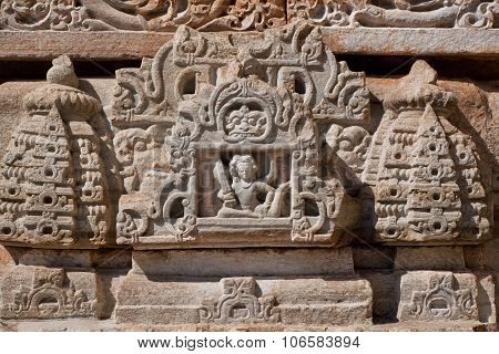 Sculptural Relief In Stone Of Hindu Goddess With A Musical Instrument Sitar