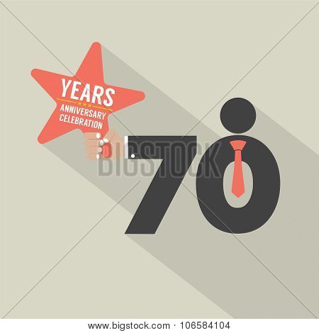 70 Years Anniversary Typography Design.
