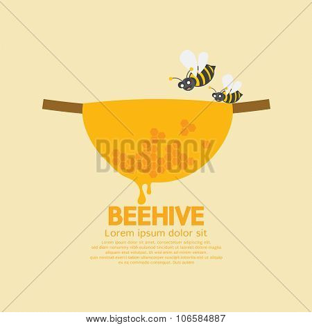 Beehive With Bees.
