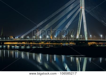 Cable-stayed bridge and River Daugava at night, Riga, Latvia