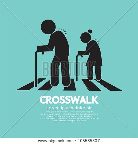 The Elderly On The Crosswalk Symbol.