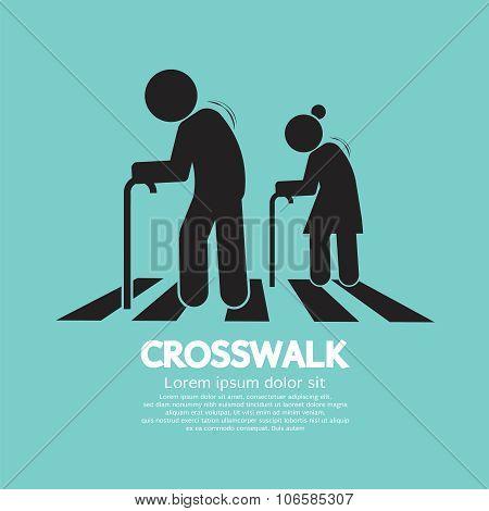 The Elderly On The Crosswalk Symbol.