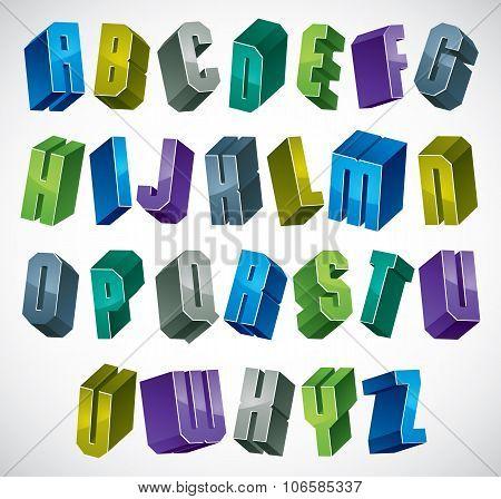 3D Colorful Letters Geometric Alphabet.
