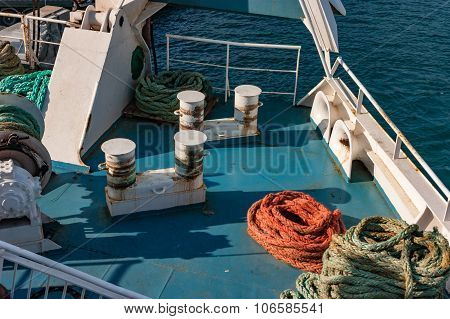 Bollards on the ferry