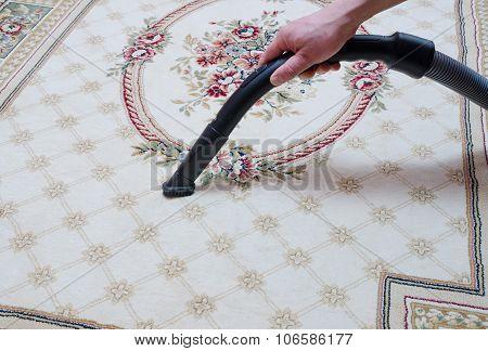Carpet Vacuuming With Vacuum Cleaner