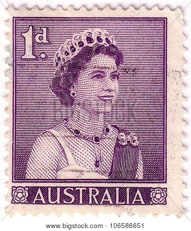 Australia - Circa 1959:a Cancelled Postage Stamp From Australia Illustrating Queen Elizabeth Ii, Iss