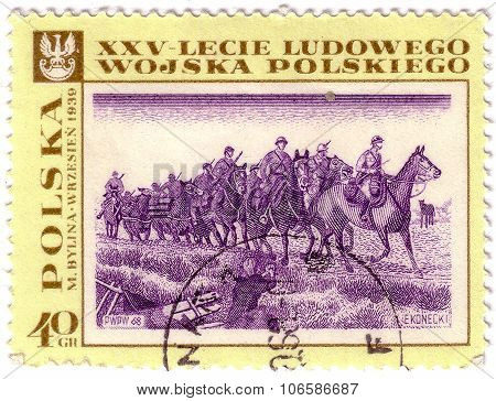 Poland - Circa 1968: Stamp Printed In Polska Shows September 1939 By M. Bylina; Paintings; Polish Pe