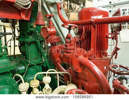 Fire Sprinkler System In The Ship Engine Room