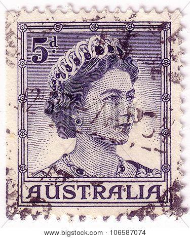 Australia - Circa 1959: A Stamp Printed In Australia Shows A Portrait Of Queen Elizabeth Ii, Circa 1