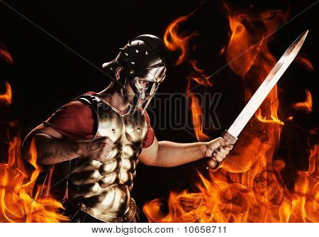 Picture of a legionary soldier ready for a war