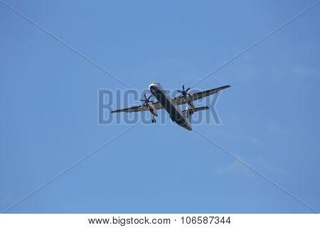ZAGREB, CROATIA - JUNE 10: Bombardier DH8D, registration 9A-CQA of Croatia Airlines landing on Zagreb Airport Pleso on June 10, 2015.