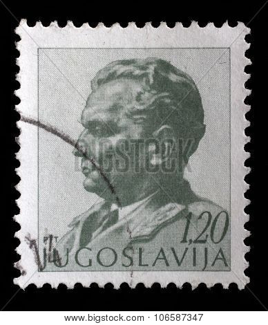 YUGOSLAVIA - CIRCA 1974: A stamp printed in Yugoslavia shows portrait of Marshal Josip Broz Tito, circa 1974
