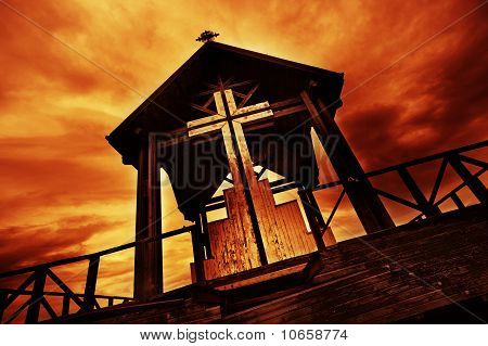 Picture of and old wooden church