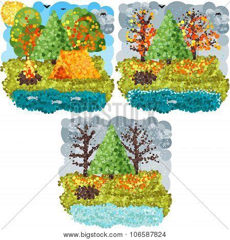 Autumn round pixels art