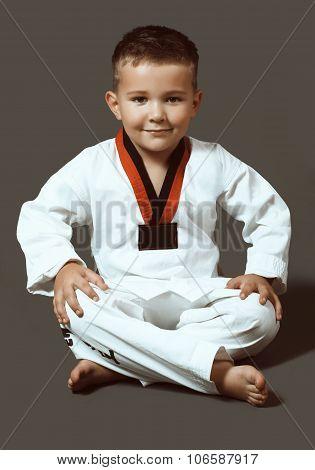 Little Boy In A Kimono, Taekwondo, Sport, Toning