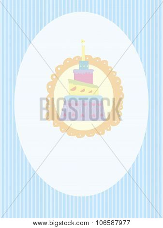 Sweet Vintage Postcard With Tiered Cake On A Blue Striped Background