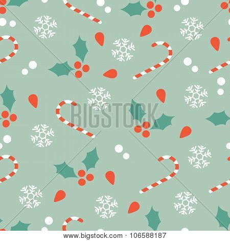 Christmas pattern with candy canes and hollies
