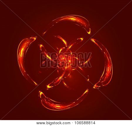 Abstract twist resembling planet or star. Fractal art graphics