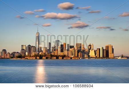 Lower Manhattan Skyscrapers At Sunset. New York City Skyline