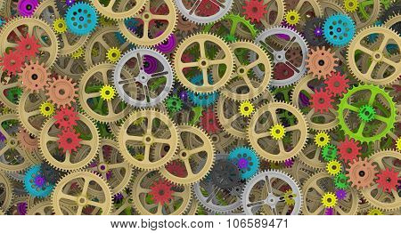 Background from multicolored cogwheels