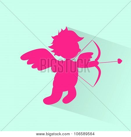 Valentine's Angel With Bow Arrow Cupid Silhouette Valentine Holiday Heart Shape