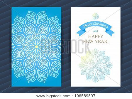 Bright Winter Holidays Cards With Snowflakes.