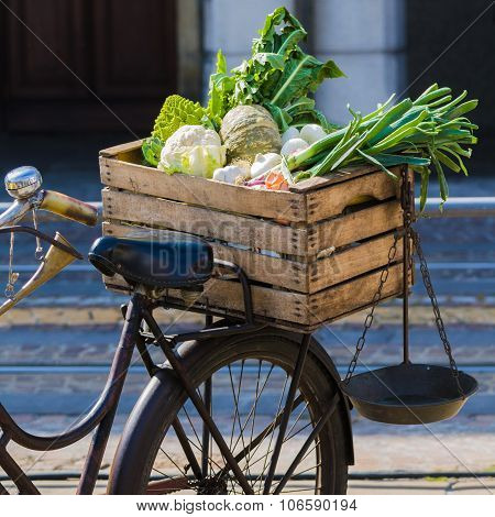 Vintage Bicycle With Fruit And Vegetables