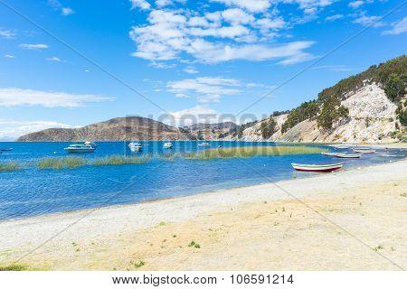 Boats On Island Of The Sun, Titicaca Lake, Bolivia